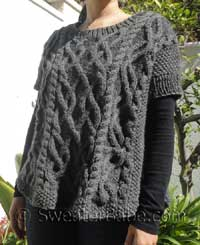 knitting pattern for cabled poncho sweater