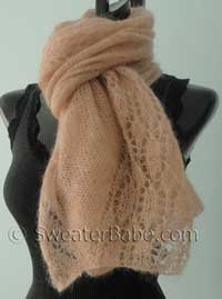 knitting pattern photo for  blushing lace shawl scarf
