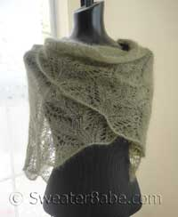 knitting pattern photo for samantha featherweight lace shawl