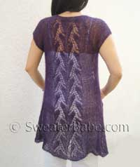 knitting pattern photo for whispering leaves lace top-down cardigan